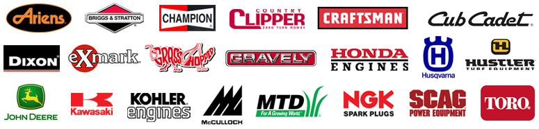 Lawn mower parts; Ariens, Briggs & Stratton, Champion, Country Clipper, Dixon, Honda Engines, Hustler, Husqvarna, Kawasaki, Kohler Engines, McCulloch, NGK Spark Plugs, SCAC Power Equipment